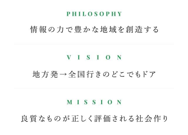PHILOSOPHY 情報の力で豊かな地域を創造する VISION 地方発→全国行きのどこでもドア MISSION 良質なものが正しく評価される社会作り